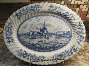 Vtg-Johnson-Brothers-Large-Blue-Oval-Tray-England-Turkey-Holiday-Serving-Platter