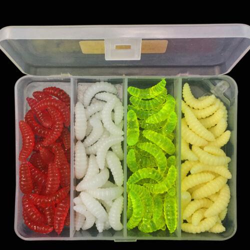 100Pcs//box  Maggot Soft Lure Fake Baits Worms Shrimps Sea Fly Fishing Lures