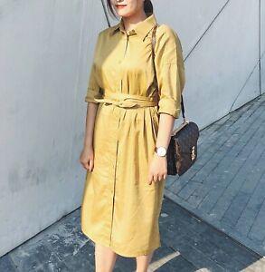 8f433ba2a NWT Uniqlo U Women Cotton Satin Long Sleeve Shirt Dress Belted Bow ...