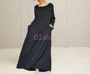 Womens-Casual-Maxi-Silk-Long-Sleeve-Blouse-Loose-Fit-Dress-Caftan-Spring-Black