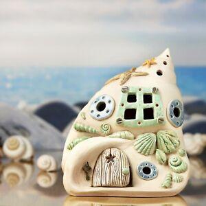Maritimes Windlicht Muschelhaus ca.14 cm hoch - einteilig - Honiglicht Keramik