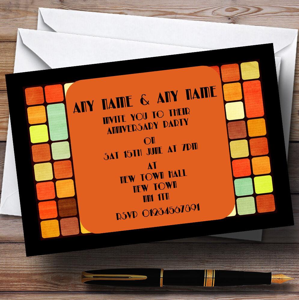 Retro Funky Wedding Anniversary Party Personalised Invitations