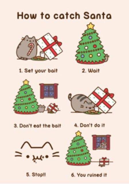 Pusheen Christmas.Cute Pusheen The Cat Cartoon Birthday Christmas Blank Funny Humour Greeting Card