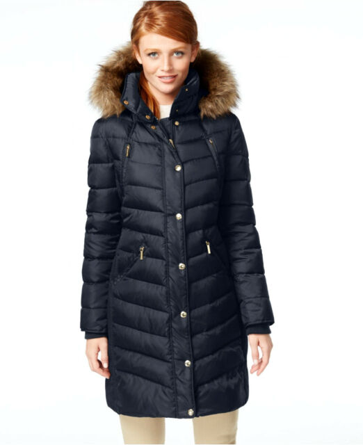 Michael Kors Navy Blue Michael Hooded Faux Fur Trim Down Puffer Coat Size Small