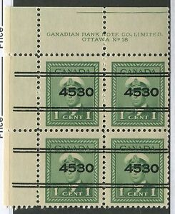 "CANADA PRECANCEL PLATE BLOCK ""TORONTO"" 15-249 NH SCARCE PLATE 18 UL"