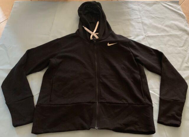 NWT Women´s Nike Hoodie Sport Fitness NK DRY HOODIE FZ BLACK 857563 010 MEDIUM