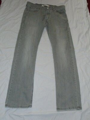 Men's Levi's 514 Jeans Slim Fit Straight Faded Grey 32 Vita 33 Gamba # 425-