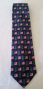 Patriotic Christmas Trees.Holiday S Mosaic Neck Tie 100 Silk Christmas Trees