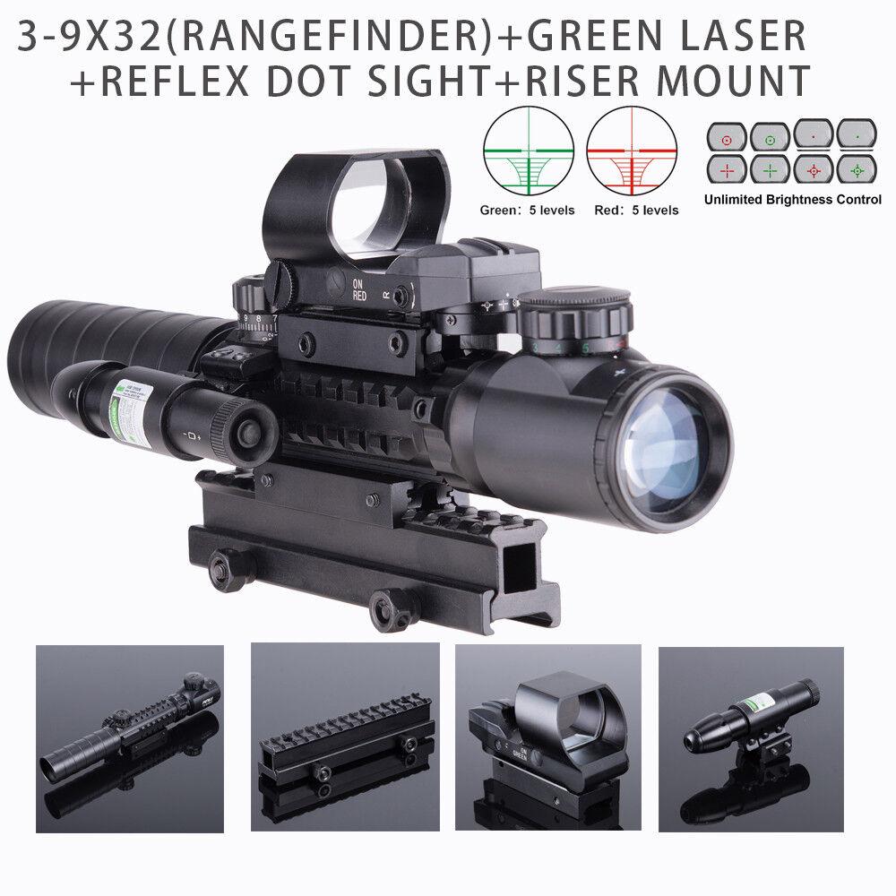 Rifle Scope Red&Green Dot Reflex Pressure Switch 1  High 14 Slots Riser Mount