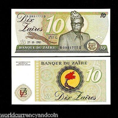 P 27A P27A ZAIRE LOT SET of 5 Banknotes Notes UNC 10 Zaires 1985