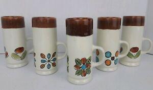 Vintage-Mid-century-Tall-Coffee-Mugs-Cappuccino-Liquor-Tea-Cups-Flowers-MCM