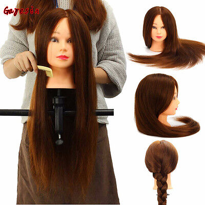 24 Inch 100% Real Human Hair Mannequin Heads Salon Hairdressing Training Model