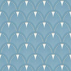 Moderne-Art-Deco-Ventilateur-Papier-Peint-Rouleaux-Bleu-Blanc-Rasch-433234