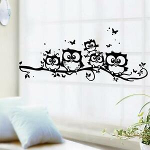 Home-Removable-Art-Vinyl-Decal-Owl-Cartoon-Wall-Sticker-Kids-Bed-Room-Black