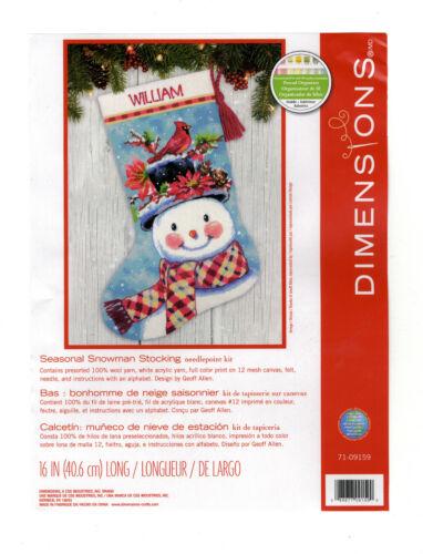 Needlepoint Kit ~ Dimensions Seasonal Snowman Christmas Stocking  #71-09159