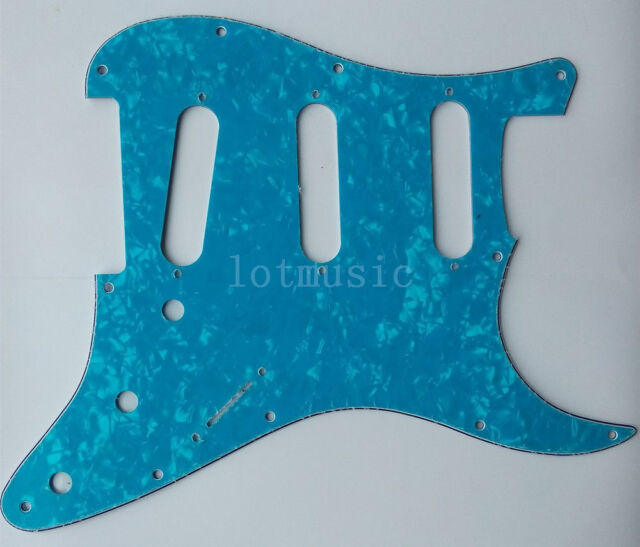 3 Ply 11 Hole Light Blue Pearl SSS Pickguard for Fender Strat Electric Guitar
