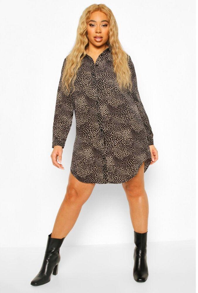 * Nouveau * Boohoo Polka Dot Oversize Robe Chemise Noir Taille 16 Rrp £ 22
