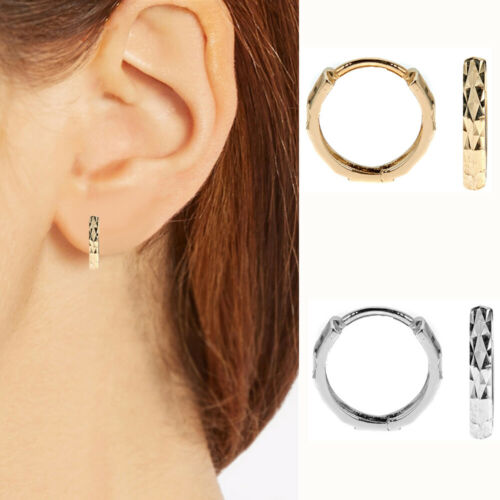 10K Real Gold Diamond-Cut Huggie Hoop Earrings DC Huggy 12mm Yellow or White