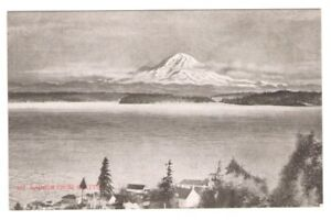 Postcard-WA-Seattle-Mt-Rainier-from-Seattle-Black-and-White-RPPC-c1907-FREE-SHIP