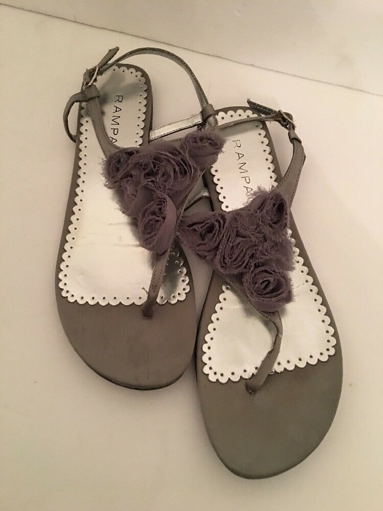 8M Rampage Flat Rhetta Silver and Gray Flat Rampage Ankle strap sandals Rosettes 0e6d78