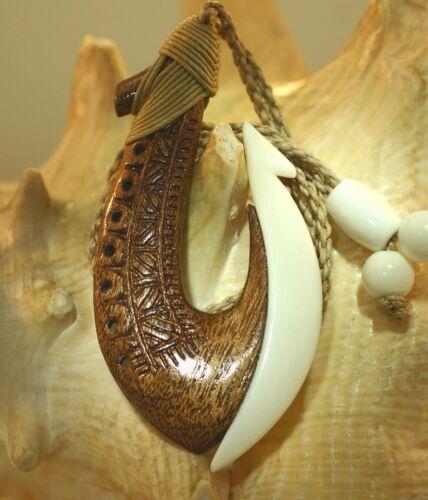 36MM CARVED COMPOSITE KOA WOOD WATER BUFFALO BONE HAWAIIAN FISH HOOK NECKLACE