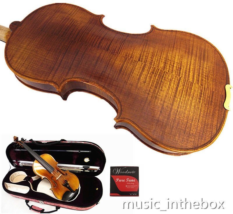Good quality set 4 4 Hand-Made Antique Violin +Bow +Rosin +Moon Case+ String