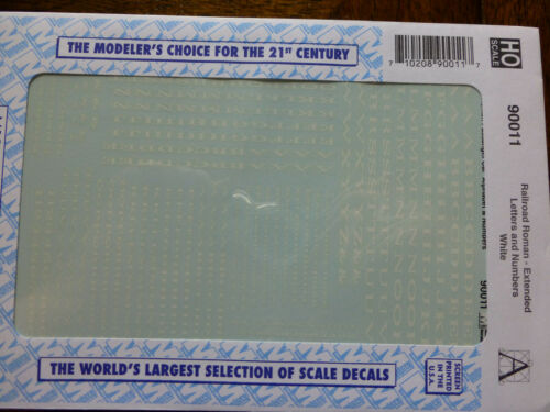 Microscale Decal #90011 Railroad Roman White Dimension are Extended