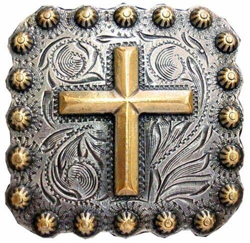 Silber/Gold Vergoldet Kreuz Concho's 2.5cm 6 Western Reiter Stift
