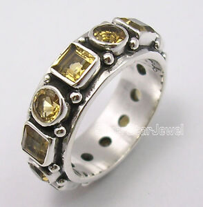 925-Sterling-Silver-Beautiful-CUT-CITRINE-GEMSTONES-HANDWORK-Ring-Band-Any-Size