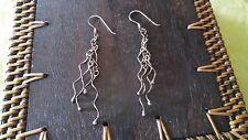 PRETTY Vintage earrings handmade artisan sterling silver Modernist dangles