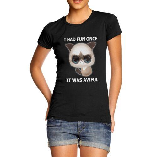 Twisted Envy Women/'s I Had Fun Once Grumpy Cat Funny T-Shirt