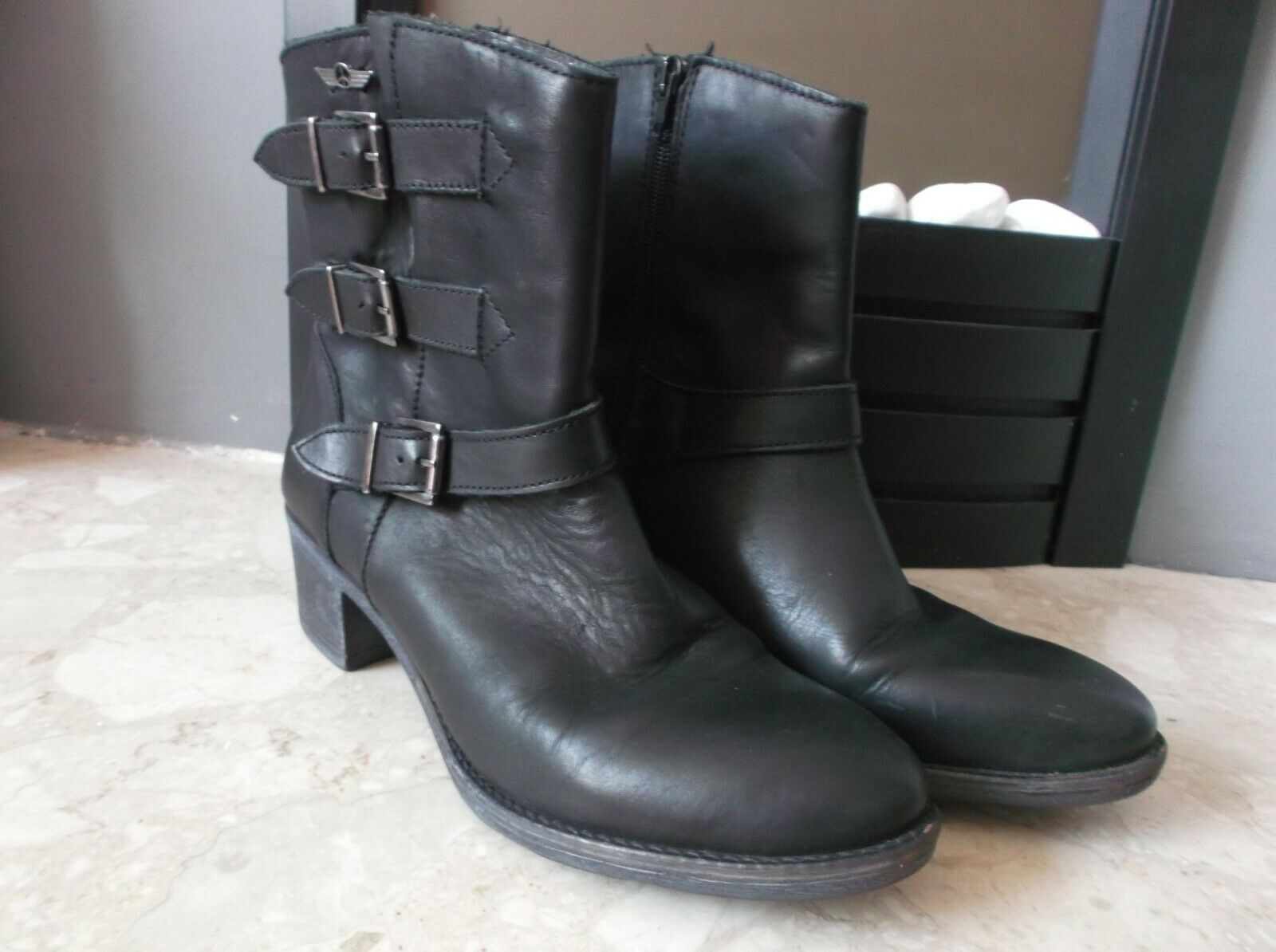 Flyer Boots & Boots Black Leather Buckles Zip Up Ankle Boots Size EU 41 UK 7