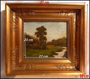 Beau Cadre époque Restauration Xixe & Paysage Peinture Fixée Sous Verre 41x36cm Couleurs Fantaisie