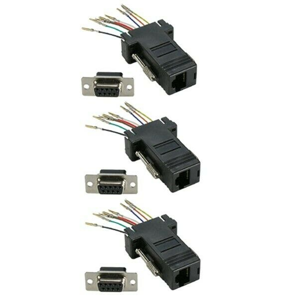 3 Pcs DB9 9-Pin RS232 Serial Female to RJ45 8P8C Network Adapter Connector Black