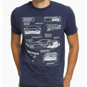 Back To The Future DeLorean Blue Print Adult T Shirt