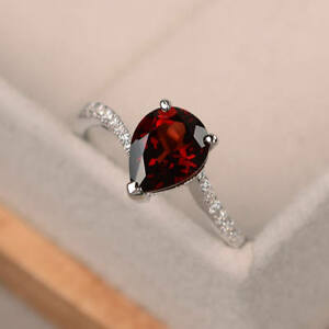 1-70-Ct-Pear-Natural-Ruby-Diamond-Engagement-Ring-14K-White-Gold-Size-5-6-7