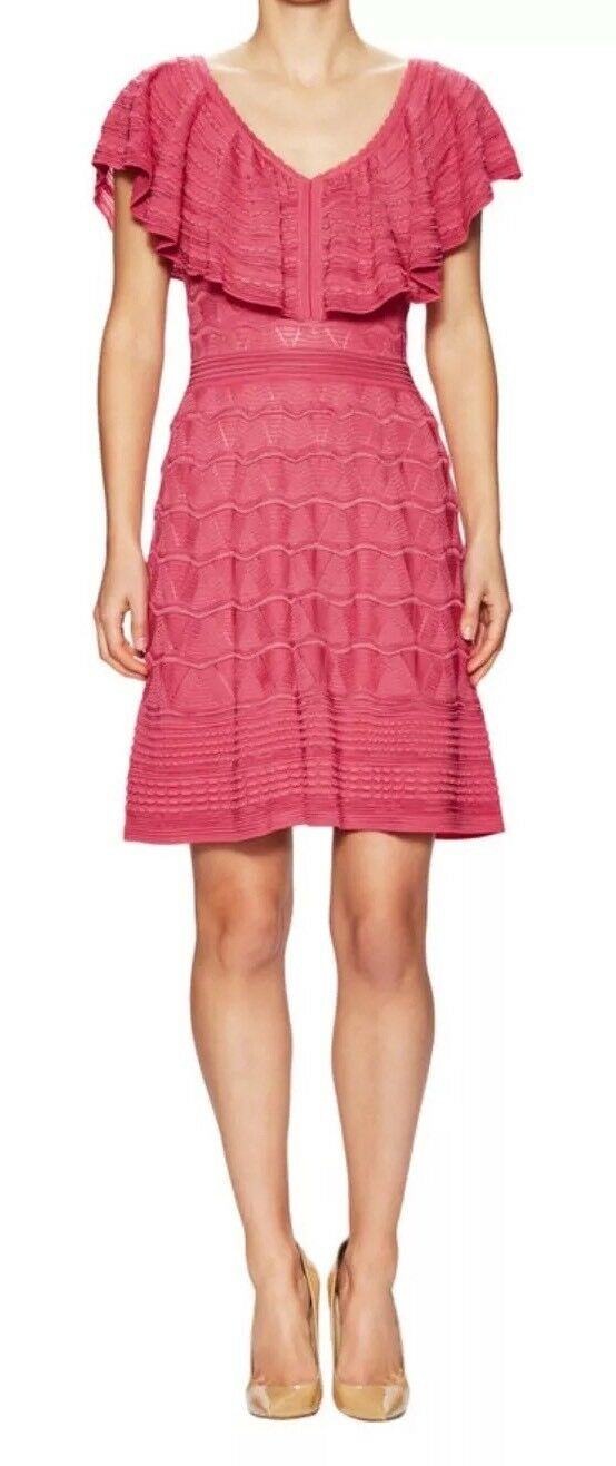 NWT  M Missoni Pink Ruffle Pointelle Knit Dress, IT 40 US 4, XS Small