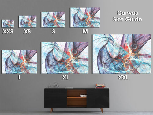 AB1041 Teal Orange Blue  Retro Abstract Canvas Wall Art Large Picture Prints