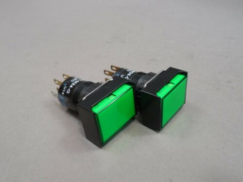 Green 24 V Lot of 2 AL6H-M24-G Illuminated Pushbutton Switch Momentary 3 A