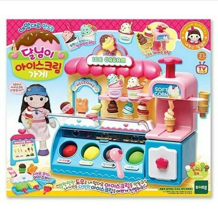 Dalimi Ice Cream Shop Play Set, Making Ice Cream on my own with soft and dough