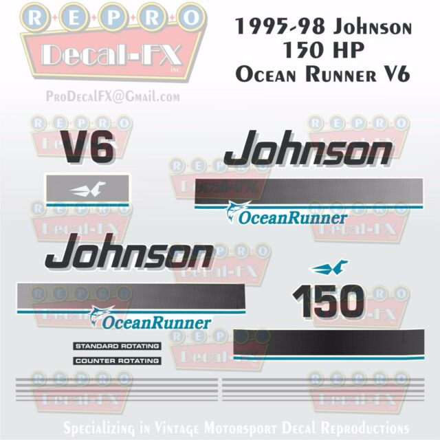 1995-98 Johnson 150 HP OR Decals V6 Ocean Runner Reproduction 21 Pieces  Vinyl