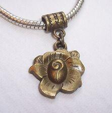 Bronze Tone Flower Rose Garden Dangle Bead for European Style Charm Bracelets