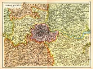 image is loading 1909 map london district middlesex kent surrey essex