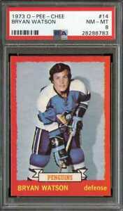 1973-O-PEE-CHEE-14-BRYAN-WATSON-PSA-8-PENGUINS-CENTERED-ADT3322