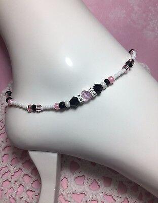 Handmade Czech Pink Black Crystal Anklet/ankle Bracelet W/swarovski Elements Usa Handcrafted, Artisan Jewelry