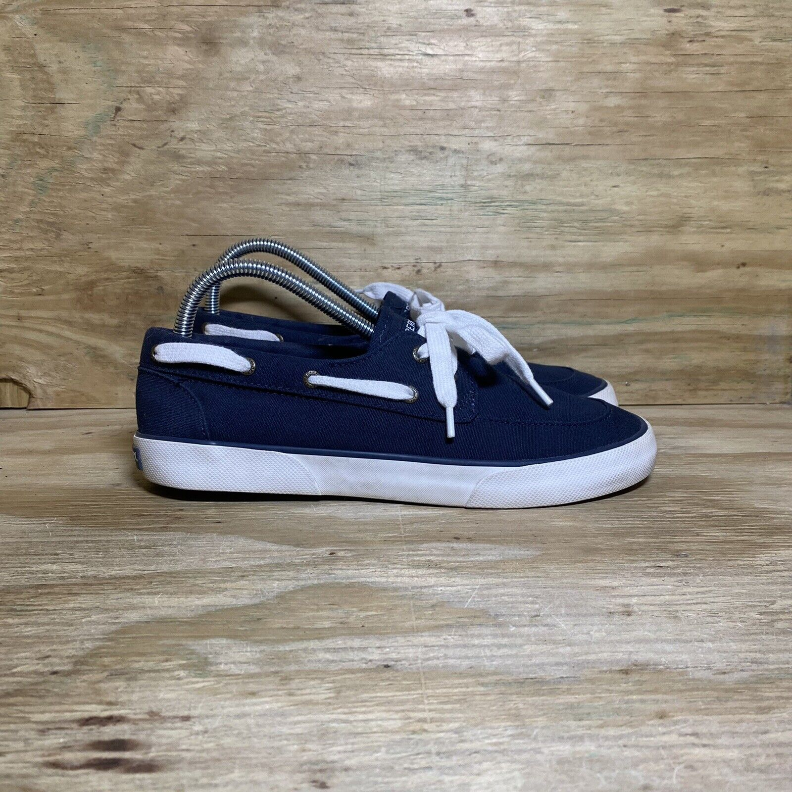 Sperry Pier Boat Shoes (STS83187), Women's size 9, Blue / White