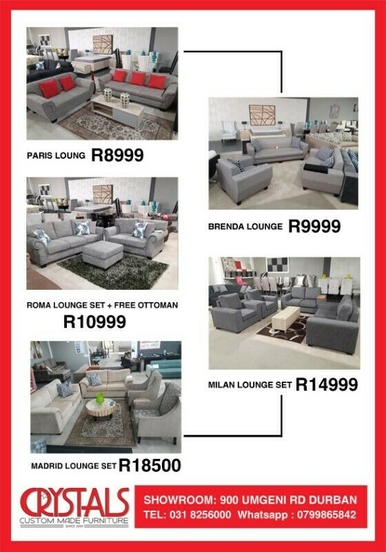 Crystals Furniture -Cheapest Prices In KZN- Quality Guarantee - 900 Umgeni Road- 0318256000