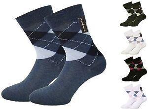 Karo-Socken-fuer-Damen-ohne-Gummidruck-6-Paar-venenfreundlich-und-85-Baumwolle