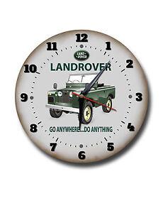 "LANDROVER 250MM CLOCK//10/""DIAMETER METAL WALL CLOCK.CLASSIC CARS,GARAGE CLOCK"