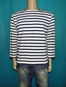 pull marinière ALL'OCEAN en coton épais bleu et blanc taille S